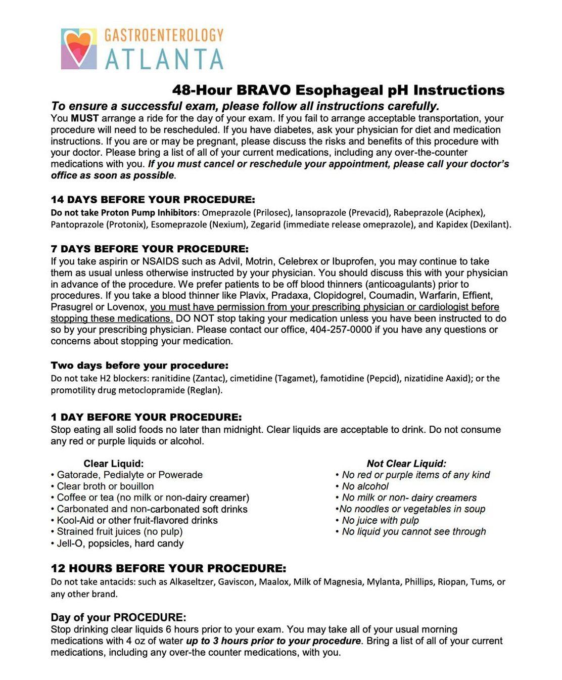 48 Hour BRAVO Esophageal pH Instructions