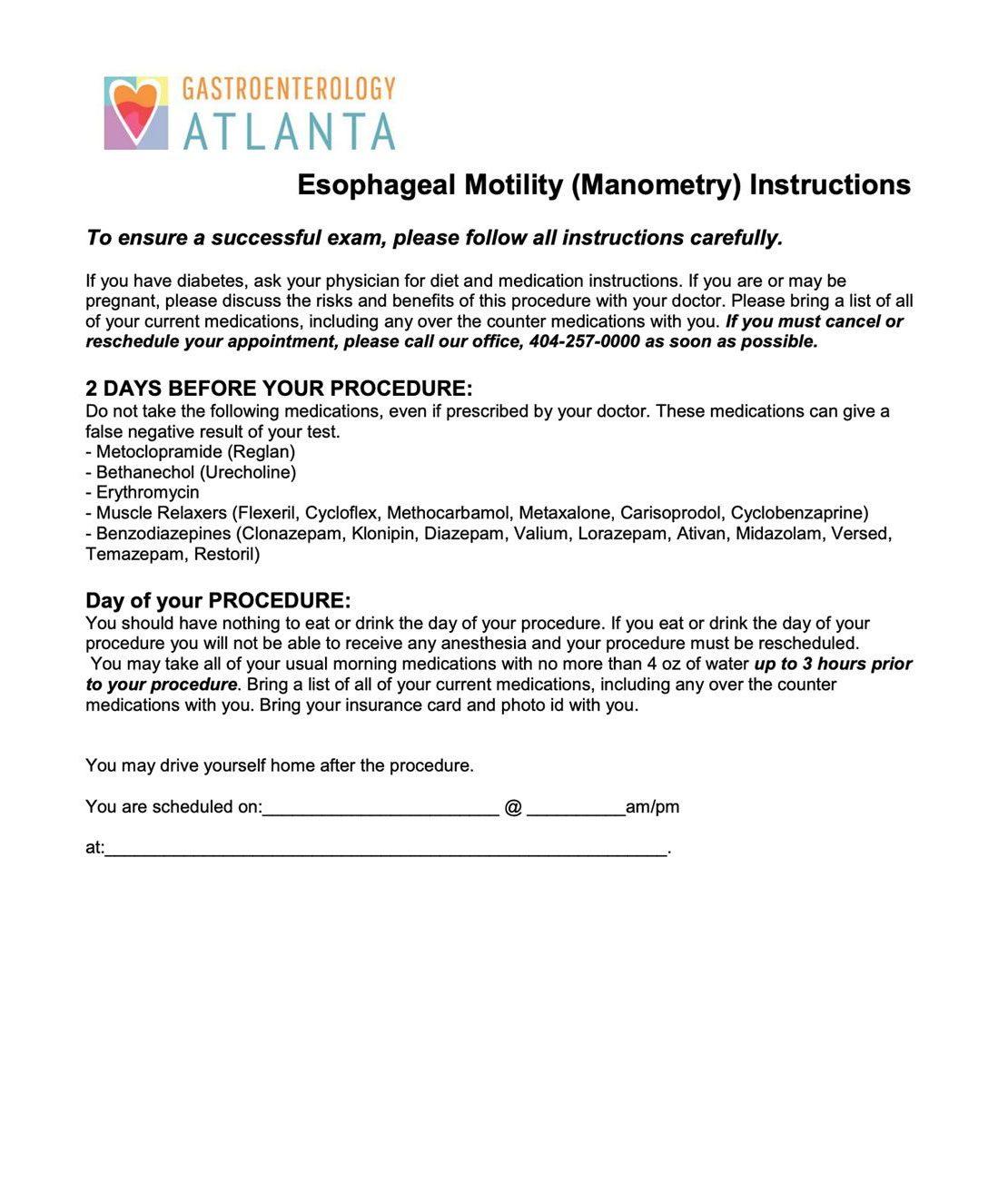 Esophageal Motility (Manometry) Instructions